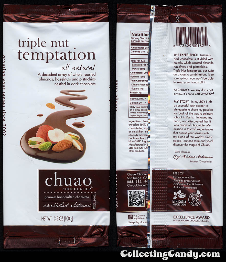 Chuao Chocolatier - Triple Nut Temptation - 3.5 oz chocolate candy bar wrapper - 2014