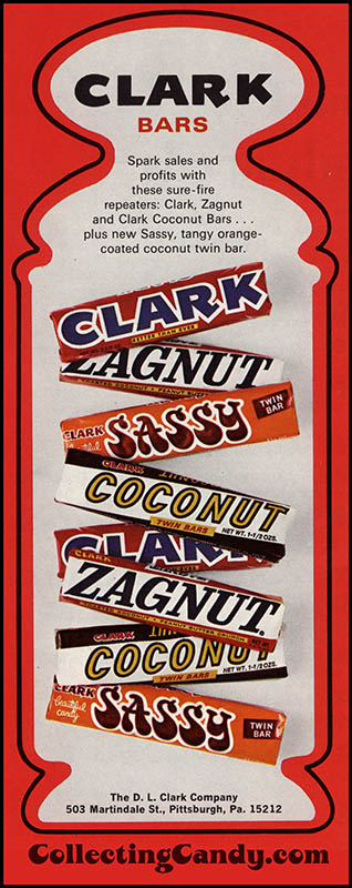 Clark Bars trade ad - August 1971