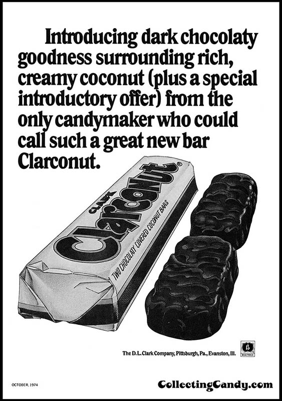 Clark - Clarconut - Introducing dark chocolaty goodness - candy trade magazine ad - October 1974