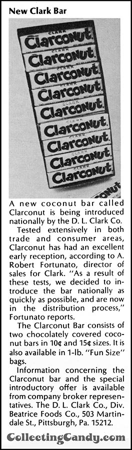 Clark - Clarconut - New Clark Bar - candy trade clipping - June1974