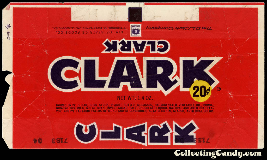 Clark - Clark bar - 20-cent 1/4 oz chocolate candy bar wrapper - mid-1970's