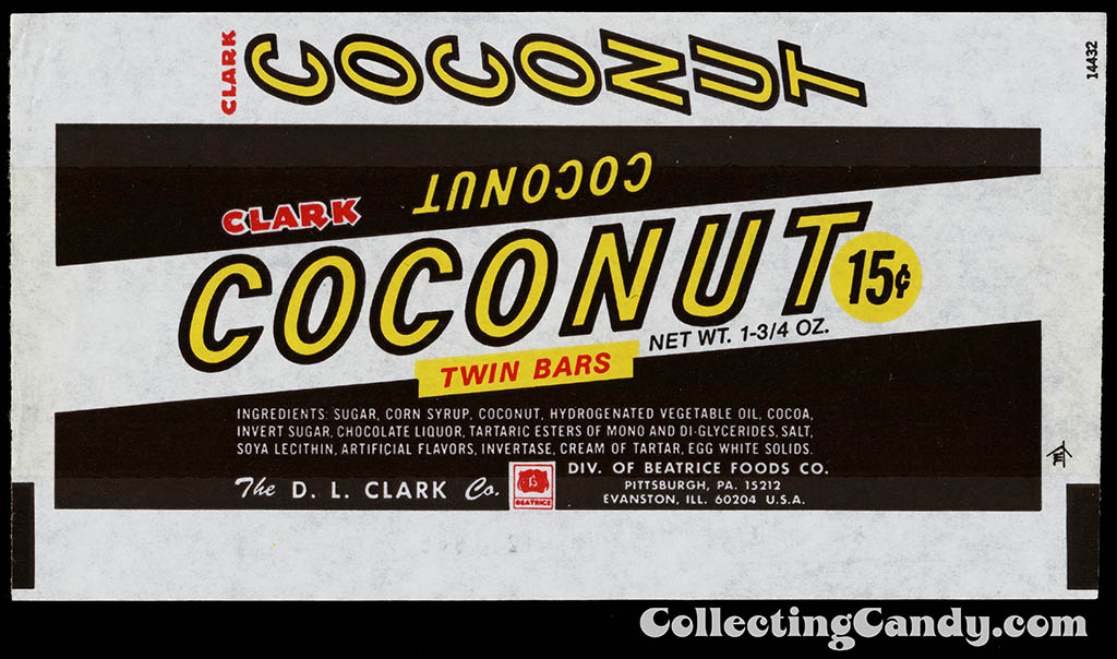 Clark - Coconut Twin Bars - 15-cent - 1 3_4 oz chocolate candy bar wrapper - late 60's to early 70's