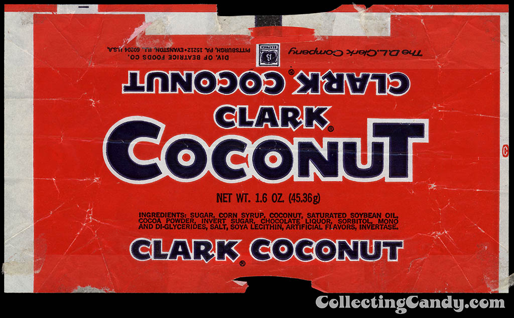 Clark - Coconut - candy bar wrapper - 1977
