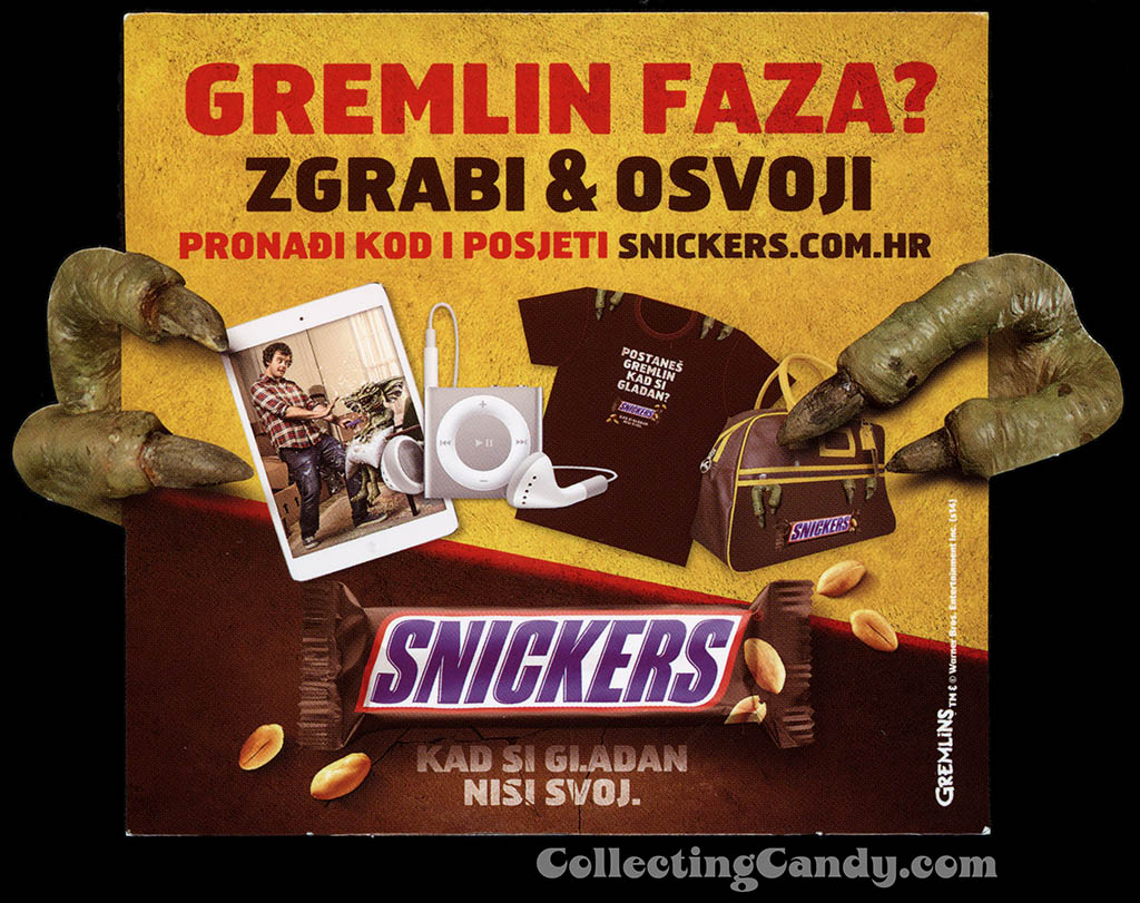 Croatia - Bosnia - Poland - Mars - Snickers - Snickers Gremlins promotional shelf talker - you're not yourself when you're hungry - Summer 2014