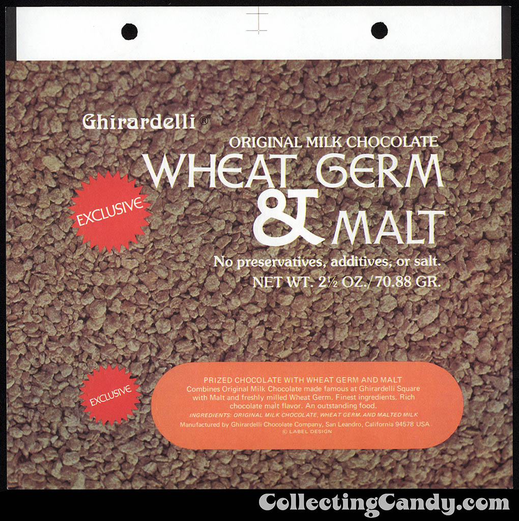 Ghirardelli - Mother Nature - Wheat Germ & Malt - exclusive - 2 1/2 oz chocolate candy bar wrapper - 1975