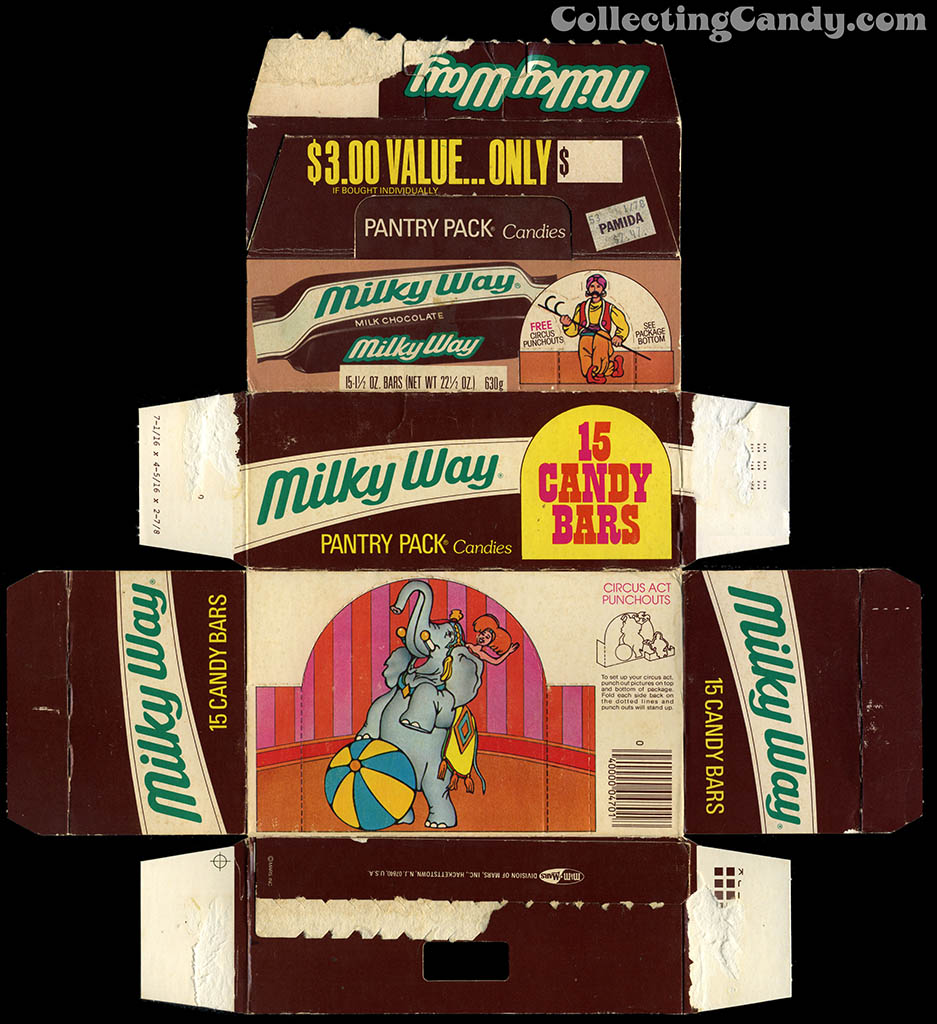 M&M Mars - Milky Way candy bar - 15-count Pantry Pack box - Circus Act Punchouts - 1970's