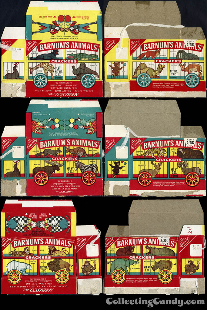 Nabisco - Barnum's Animals Crackers - assorted cookie boxes - Late 1960's to Early 1970's