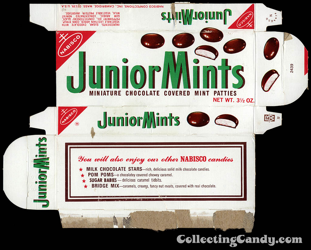 Nabisco - Junior Mints - 3 1/2 oz candy box - 1976