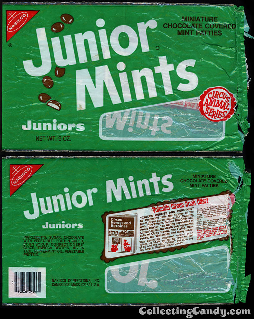 Nabisco - Junior Mints Juniors - Circus Animal Series - 9 oz multi-bag candy package - 1975