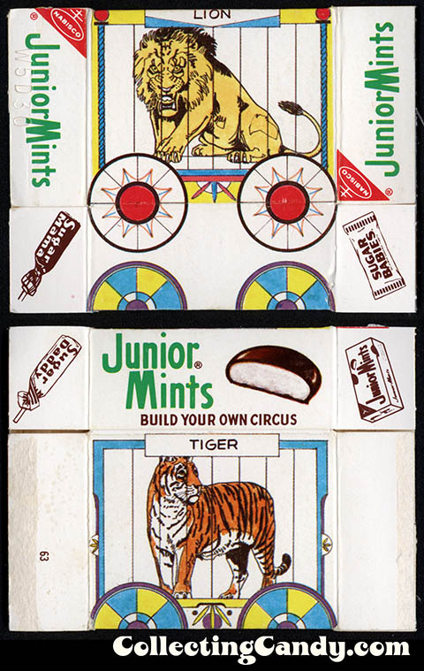 Nabisco - Junior Mints Juniors - Circus Animal Series - Lion-Tiger Juniors size candy box - 1975
