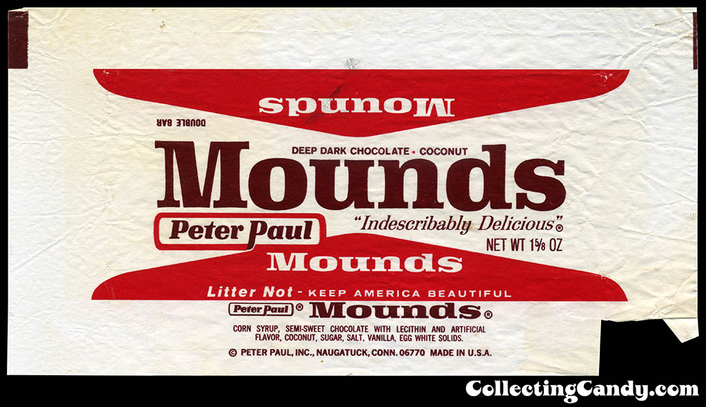 Peter Paul - Mounds 1 5/8 oz candy bar wrapper - early 1970's