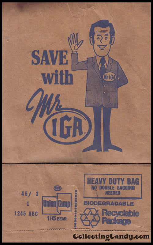 Save with Mr IGA grocery bag - 1970s