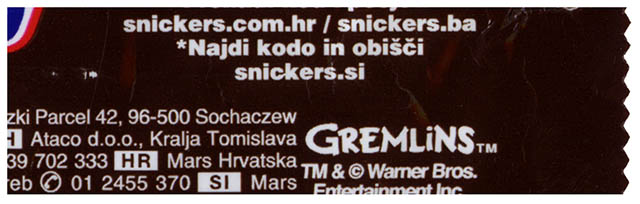 Snickers Gremlins wrapper - isolated close-up - Summer 2014