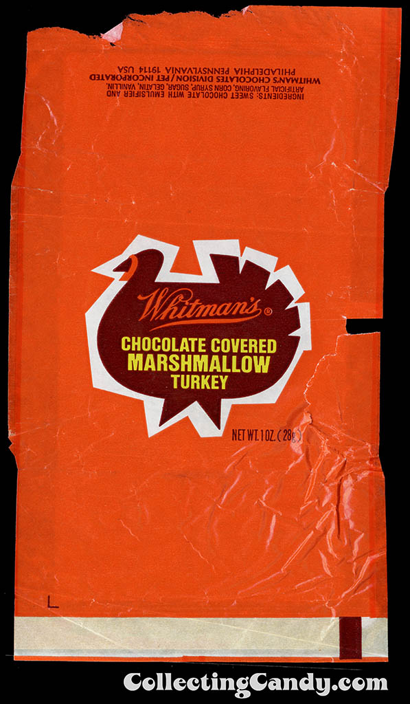 Whitman's - Chocolate Covered Marshmallow Turkey - candy wrapper - 1979