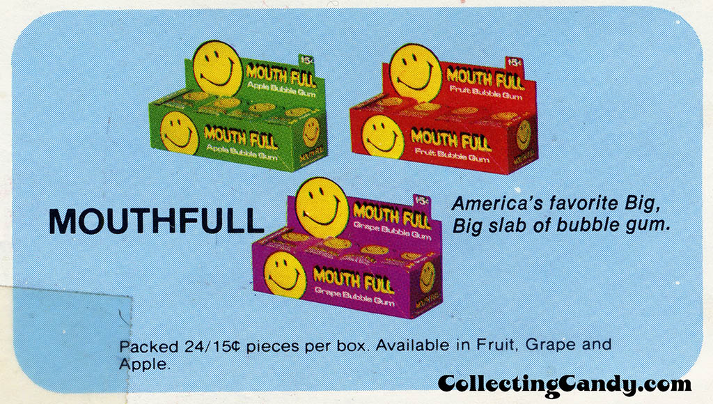 Donruss - Mouth Full - 15-cent display boxes image from sales flyer - early 1970's