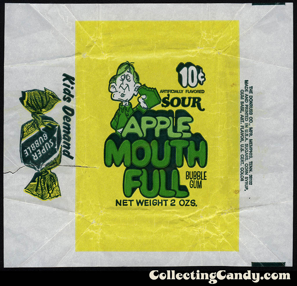 Donruss - Mouth Full - Apple - 10-cent 2 oz bubblegum wax wrapper - 1960's? 1970's