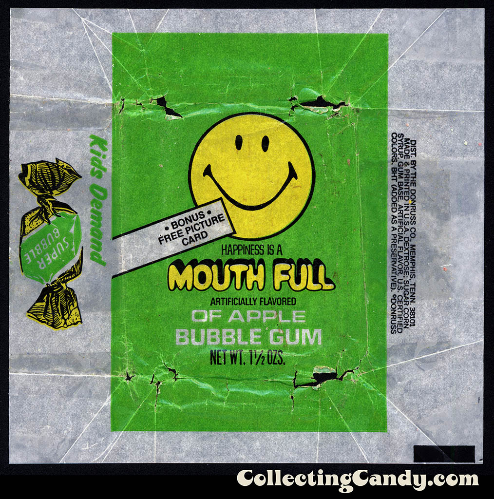 Donruss - Mouth Full - Apple - bonus free picture card - 1 1/2 oz bubblegum wax wrapper - 1970's