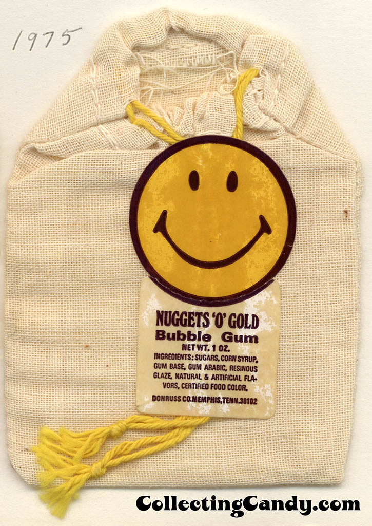 Donruss - Nuggets 'O' Gold Bubble Gum - 1oz bubblegum fabric pouch bag package - 1975