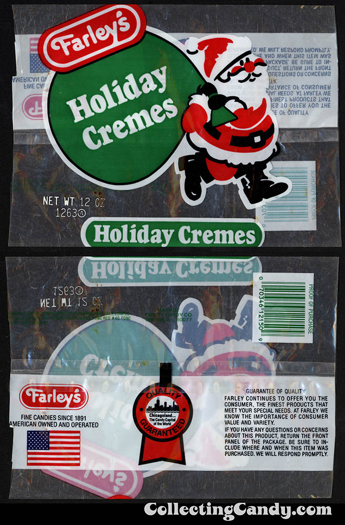 Farley's - Holiday Cremes - 12oz Christmas candy package - 1980's