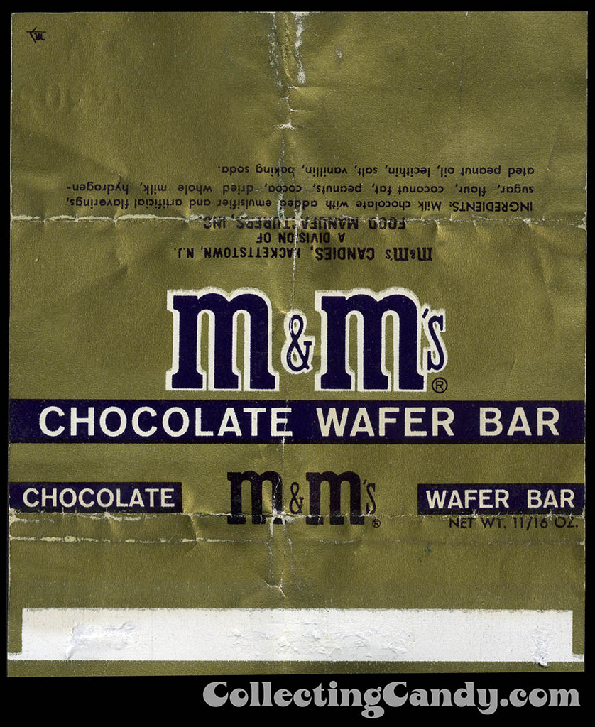 Food Manufacturers Inc - M&M's Candies - M&M's Chocolate Wafer Bar - 11/16 oz candy bar wrapper - 1950's 1960's