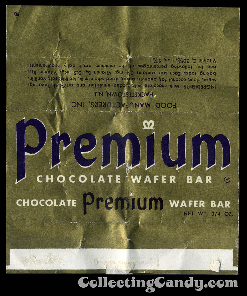 Food Manufacturers Inc - Premium Chocolate Wafer Bar - 3/4 oz candy wrapper - 1950's