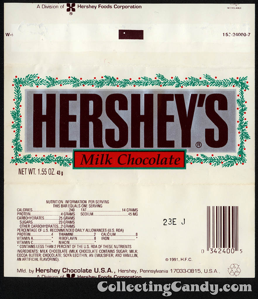 Hershey's - Milk Chocolate - Christmas editon 1.55 oz candy bar wrapper - early 1990's