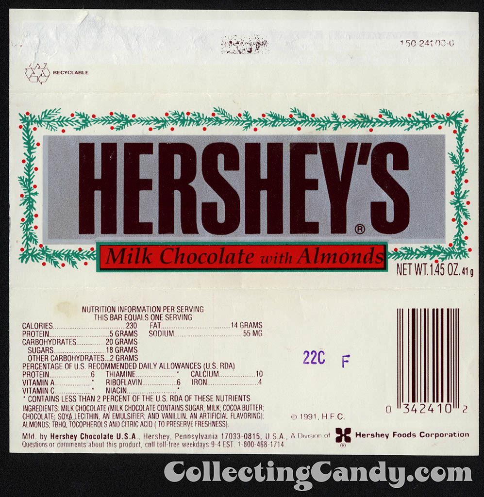 Hershey's - Milk Chocolate with Almonds - Christmas editon 1.45 oz candy bar wrapper - early 1990's