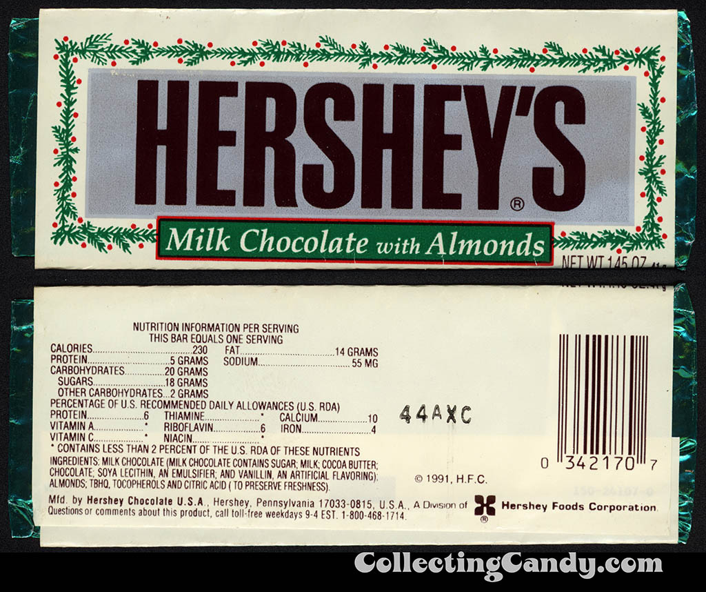 Hershey's - Milk Chocolate with Almonds - Christmas edition 1.45 oz candy bar wrapper - early 1990's