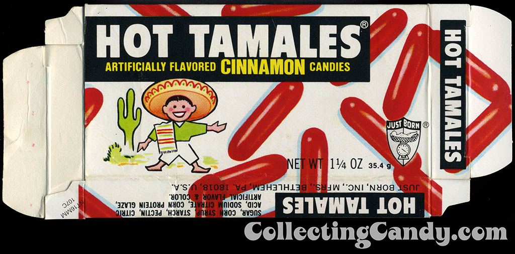 Just Born - Hot Tamales - 1 1/4 oz candy box - 1970's