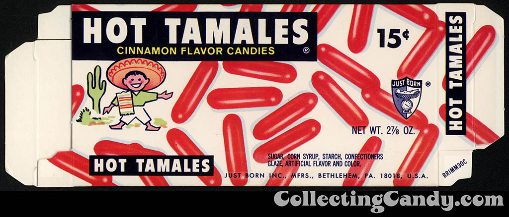 Just Born - Hot Tamales - 15-cent candy box - late  60's early 70's