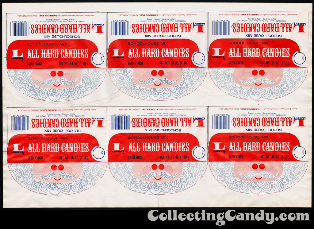Luden's - All Hard Candies Schoolhouse Mix hang tag proof sheet - candy packaging - 1970's