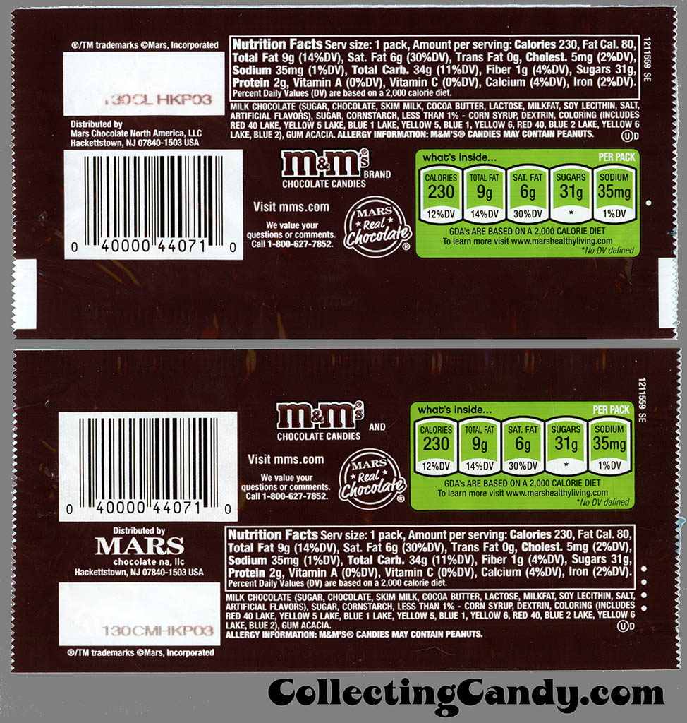 M&M-Mars - M&M's Holiday Packs - Milk Chocolate - 1.69 oz Christmas candy package backs - December 2012