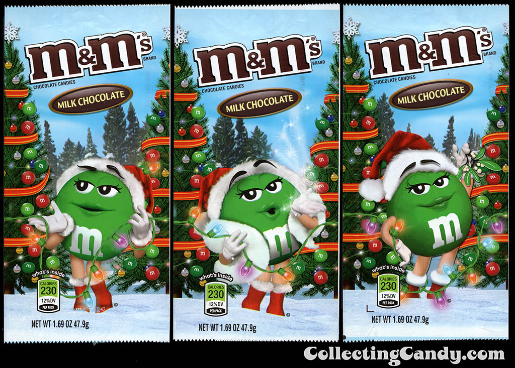 M&M-Mars - M&M's Holiday Packs - Milk Chocolate - Green - 1.69 oz Christmas candy packages - December 2012