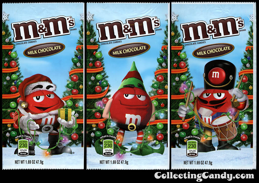 M&M-Mars - M&M's Holiday Packs - Milk Chocolate - Red - 1.69 oz Christmas candy packages - December 2012
