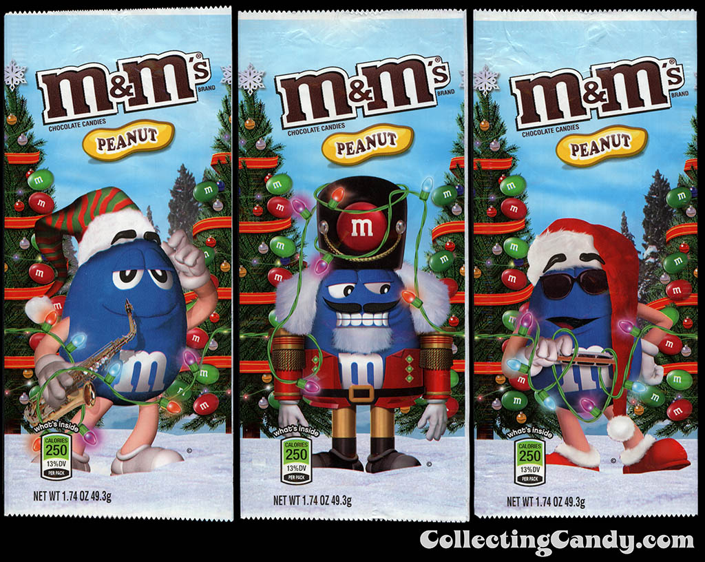 M&M-Mars - M&M's Holiday Packs - Peanut - Blue - 1.74 oz Christmas candy packages - December 2012
