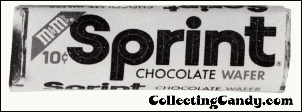 M&M's Sprint - 10-cent bar wrapper from candy magazine trade ad - 1969