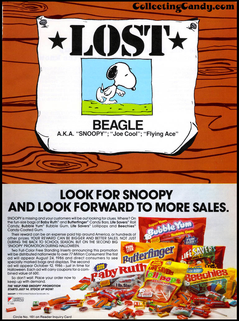 Nabisco - Halloween Snoopy Peanuts promotional trade ad - June 1986