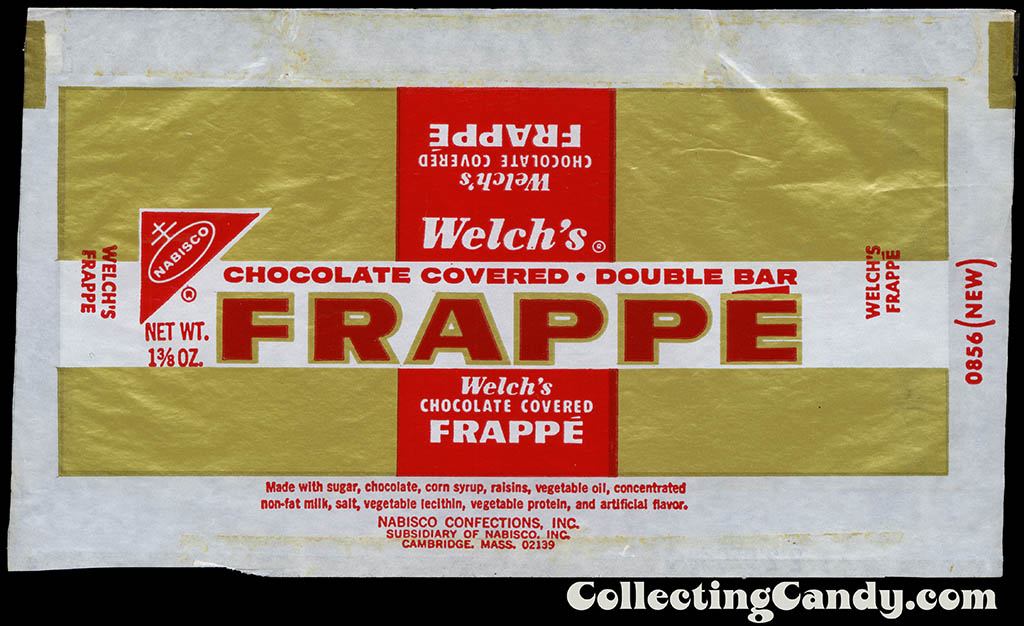 Nabisco - Welch's Frappe - 1 3/8 oz chocolate candy bar wrapper - 1973
