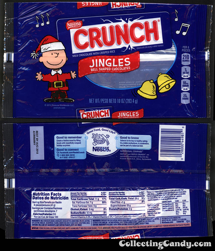 Nestle - Crunch Jingles - Bell-Shaped Chocolates - Peanuts Charlie Brown - 10oz Christmas candy package - November 2014