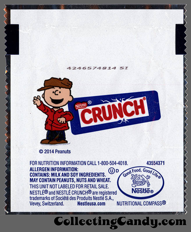 Nestle - Crunch Minis - Charlie Brown - mini candy wrapper package - November 2014
