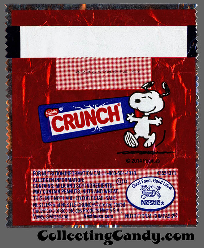 Nestle - Crunch Minis - Snoopy - mini candy wrapper package - November 2014