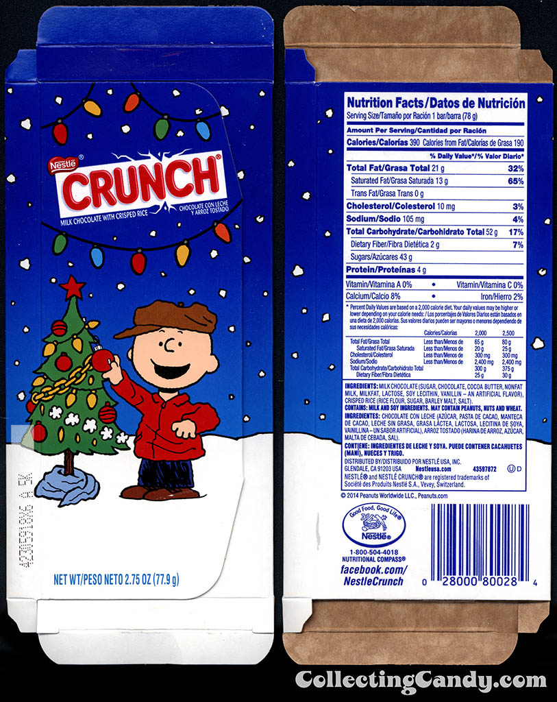 Nestle - Crunch - Peanuts Charlie Brown and Tree - 2.75 oz Christmas chocolate bar box package - November 2014