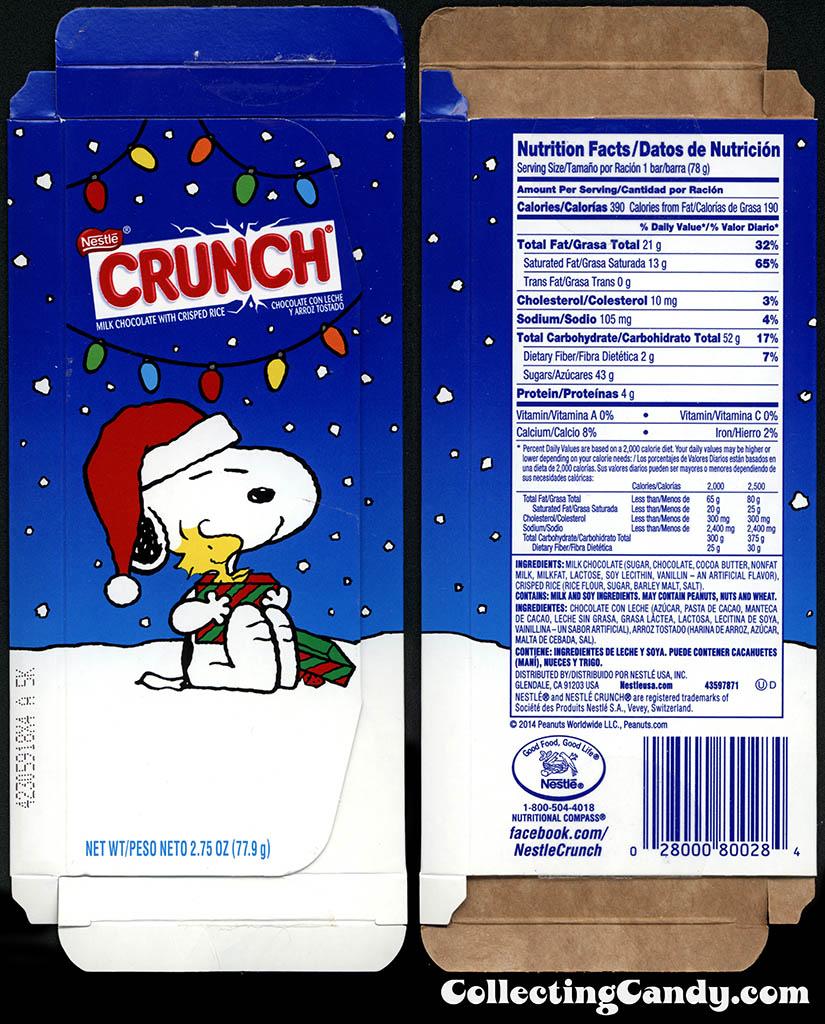Nestle - Crunch - Peanuts Snoopy Woodstock - 2.75 oz Christmas chocolate bar box package - November 2014