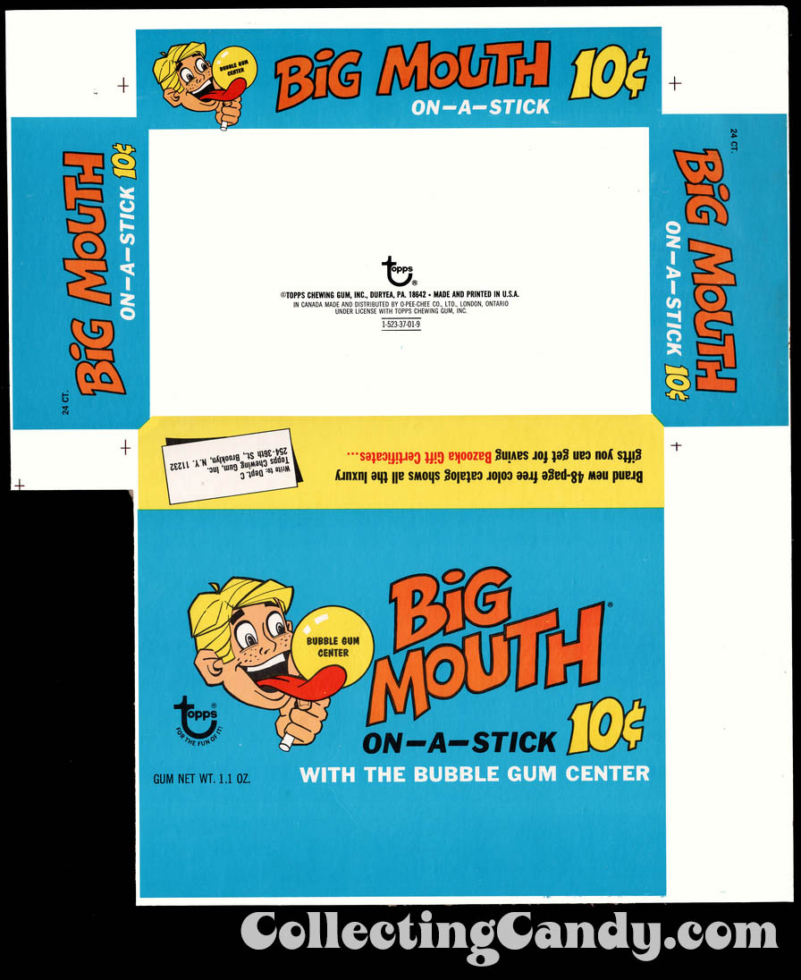 Topps - Big Mouth On-A-Stick (with the bubble gum center) - Bazooka Gift Certificates Box Flat - 1970's