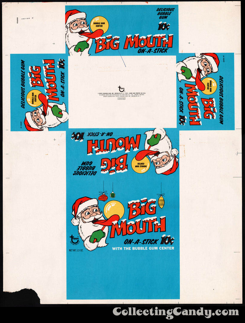 Topps - Big Mouth On-a-Stick bubble gum - Holiday display box flat - 1970's