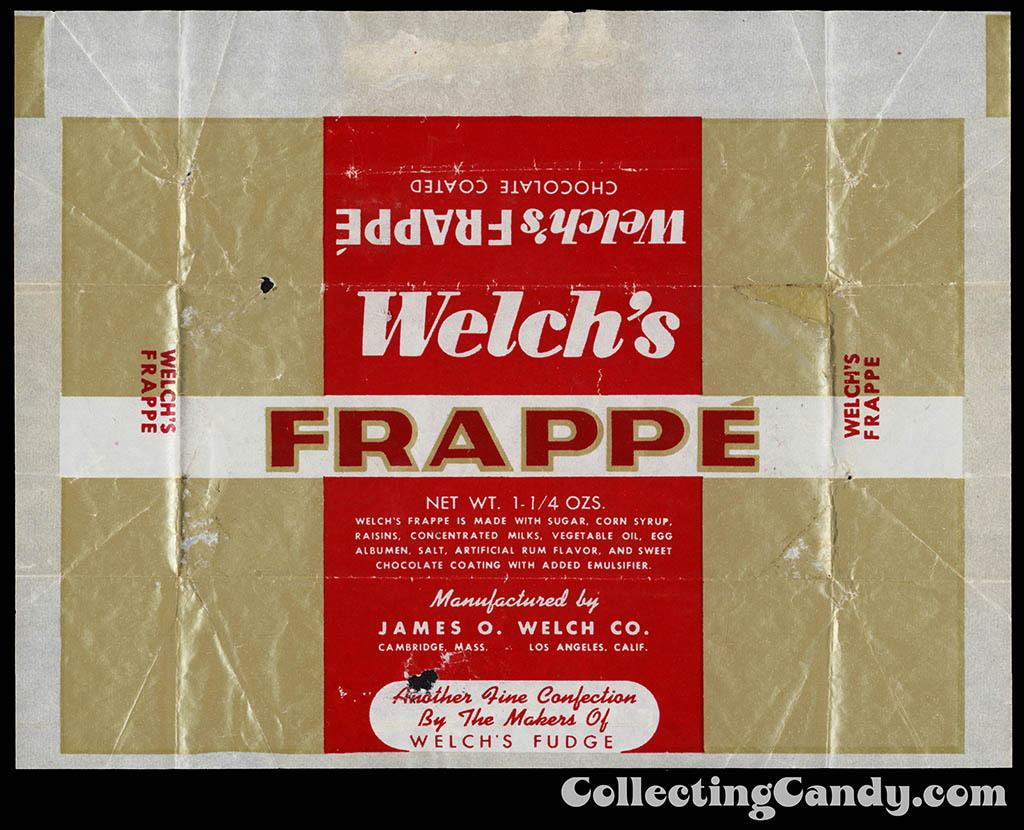 Welch's Frappe - 1 1/4 oz chocolate candy bar wrapper - 1950's 1960's