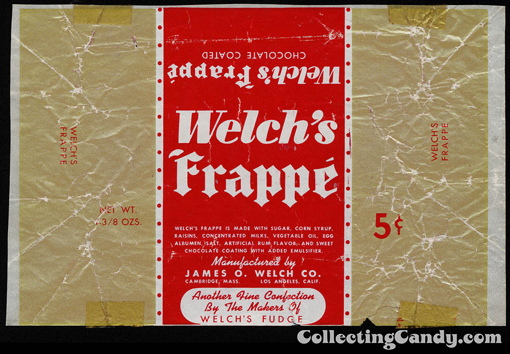 Welch's Frappe - 1 3_8 oz 5-cent chocolate candy bar wrapper - 1930's-1940's