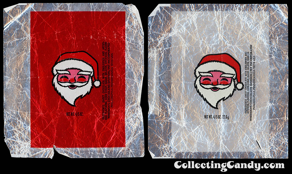 Whitmans - Smiling Santa - red and white foil 4_5oz Christmas chocolate wrappers - 1970's