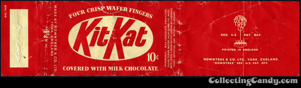 Rowntree - KitKat - Kit Kat - 10-cent candy bar wrapper - 1950's 1960's