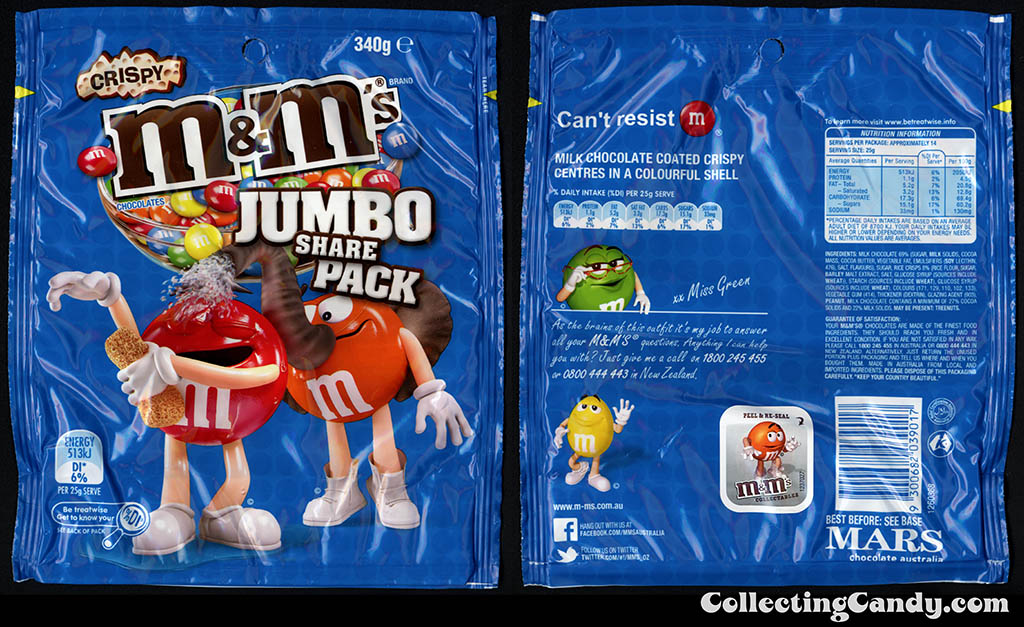 Australia - Mars - M&M's Crispy - Jumbo Share Pack - elephant mask - 340g candy package 2013